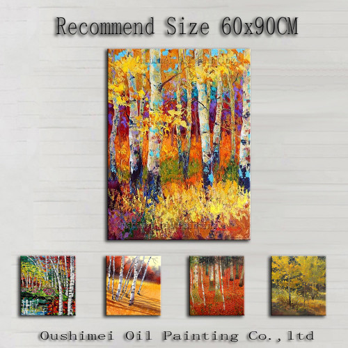 High Quality Many Kinds Of Tree Oil Painting On Canvas Handmade Abstract Birch Trees Oil Painting For Wall Deco