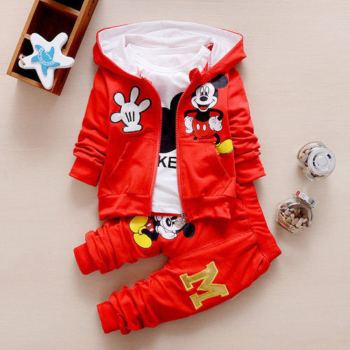 Hot Sale 2016 Autumn Baby Girls Boys Clothes Sets Cute Infant Cotton Suits Coat+T Shirt+Pants Casual Kids Children Suits