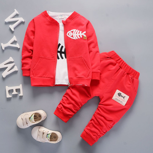 Bibicola baby boys clothing set toddler bebe coat jacket+ T shirt+pants 3 pcs newborn sport suit infant boys clothes set