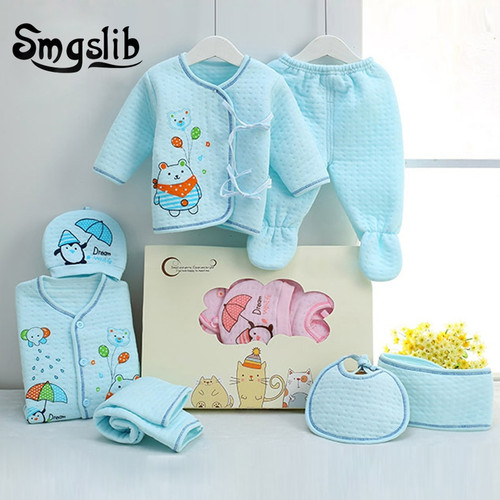 7pcs/lot Baby girl Clothes infant newborn clothes 0 3 Months Toddler girls hat top Cotton baby boy outfit Baby Clothing Sets