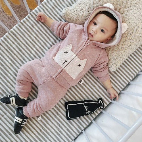 Lemonmiyu Warm Winter Baby 2 Pieces Hooded Outwear Sets Cartoon Cotton Infant Newborn Padded Thicken Girl Boys Overalls Clothes