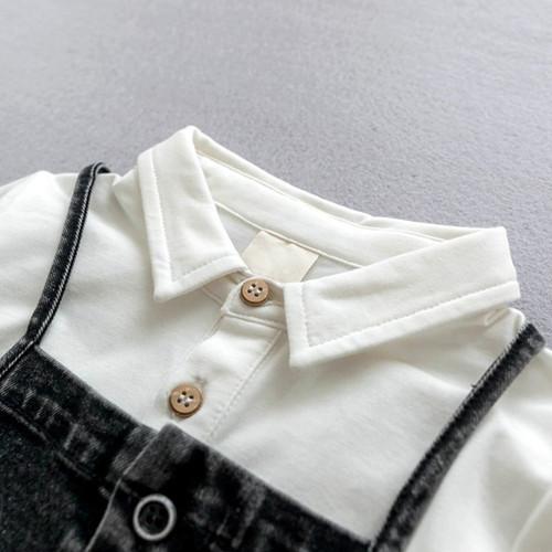 Baby Boys Clothing Set White T shirt + Denim Pants Fashion Baby Boy Clothes Newborn Baby Clothes Cowboy Belt Pants Baby Gift