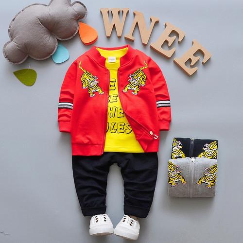 Baby Boys Sets Newborn Casual cartoon Tiger Jacket+T-shirt+Pants Kids 3pcs Suit Infant Baby Boys Clothes Children's Clothing