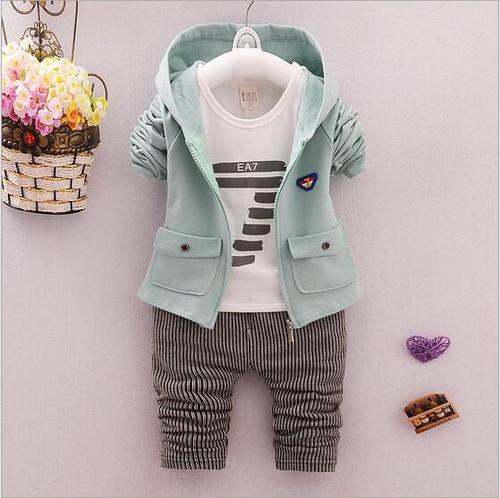 3 pcs baby boy clothing set boys suit kids spring jacket infant coats Autumn shirt boys trousers fit 7-24 months