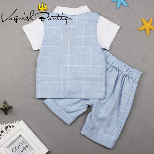 Baby boys clothes gentleman baby short sleve suit with shorts free bow fashion newborn kids clothes