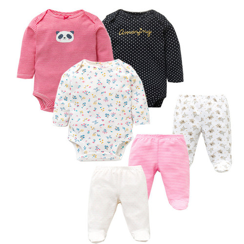 6 PCS /Lot Fashion Baby Clothing Sets Cotton Newborn Toddler Infant Long Sleeve Baby Rompers+ Baby Pants Baby Boys Girls Clothes