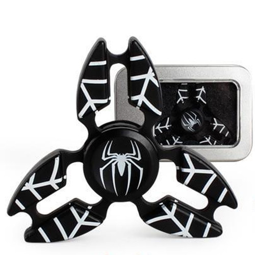 Spider Man Black Metal Fidget Hand Spinner Black with 5 to 6 Minutes Spin Time