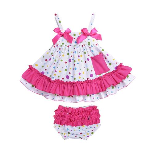 2018 Summer Baby Clothing Newborn Baby Girl Clothes Dress Infant Sling Bat Roupas Body Bebes Baby Dress 2 Pcs/set