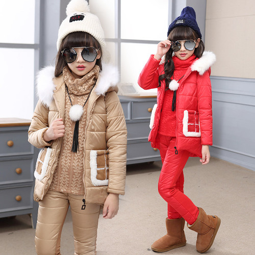 The Child In The Girls Winter Coat Hoody Three Piece Suit Children Children's Clothing Girl's Clothes New Year Dress Baby Kids