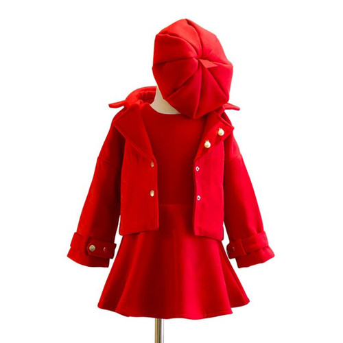 2018 Winter Spring Fall Baby Toddler Girls Clothing Sets Wool Coat+Sleeveless Dress+Cap 3Pcs Suit Child Kids Clothes Set JW2938