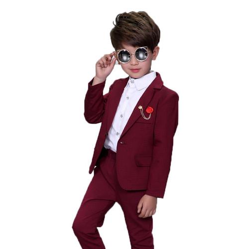 Ceremonial Baby Boys Birthday Dress Suits For Weddings Party Tuxedos Gentleman Formal Costume Boys Blazer Pants 2pcs Set F027