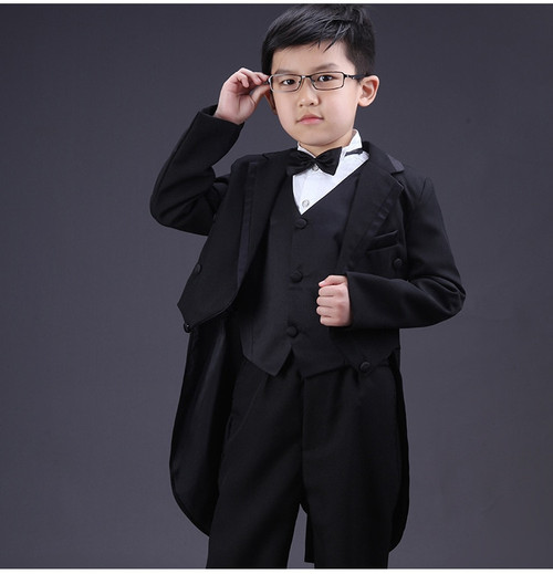 Boys Formal Dress Tuxedo Piano Performance Costume Flower Boy Birthday Wedding Suits 5pcs Jacket + Vest + Shirt + Pant + Tie F60