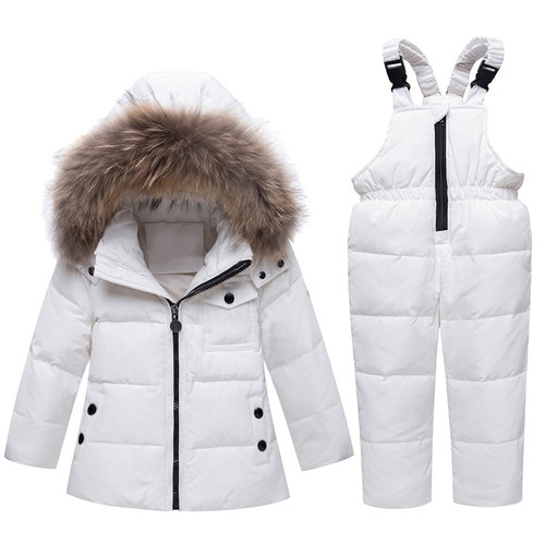 Winter Children's clothing Sets Warm baby boy Ski suits Snowsuits real Fur Girl's down Jackets Outerwear Coat+suspender jumpsui