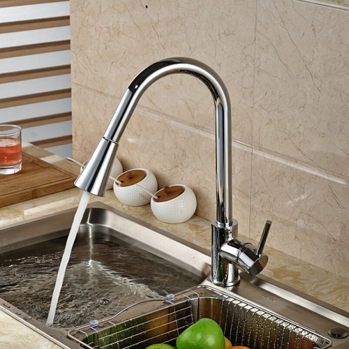 Kitchen Faucets Chrome Single Handle Pull Out Kitchen Tap Single Hole Handle Swivel 360 Degree Water Mixer Tap Mixer Tap