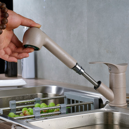 Luxury Pull Out Kitchen Faucet Deck Mount Kitchen Water Taps with Hot and Cold Water Single Handle Crane Taps