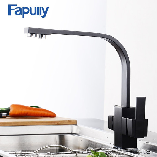Fapully Black Kitchen Faucet Modern Filter Water 3 Way Drinking Water Dual Holder Cold and Hot Brass Faucet Mixer Tap 573-33