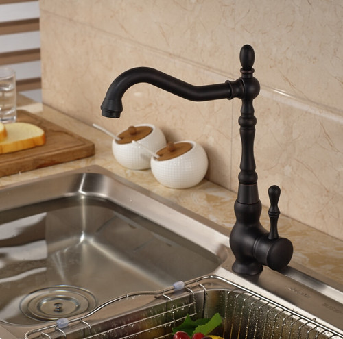 Deck Mount Bathroom Kitchen Faucet Single Handle 360 Rotate Basin Sink Mixer Taps Black Hot and Cold Water Mixers