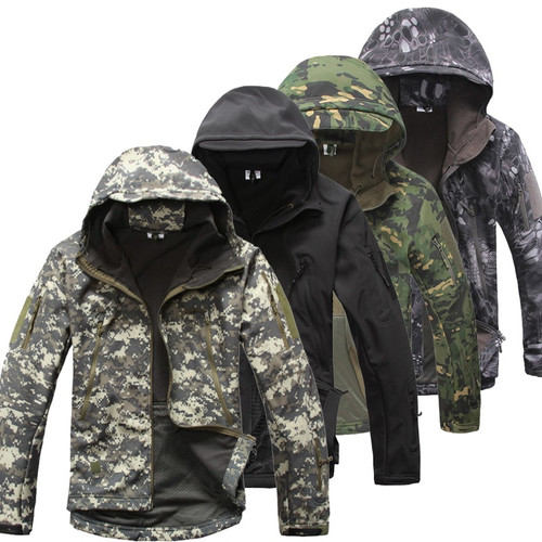 Army Camouflage Coat Military Tactical Jacket Men Soft Shell Waterproof Windproof Jacket Winter Hooded Coat Dropshipping