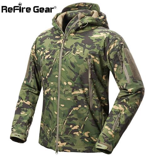 ReFire Gear Shark Skin Soft Shell Tactical Military Jacket Men Waterproof Fleece Coat Army Clothes Camouflage Windbreaker Jacket