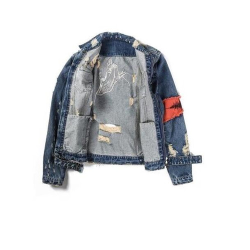2018 New Men Hip-Hop forum Wearing patchwork Denim jacket coat Men jacket Man Man Hip Hop Tape Hole loose Coat The Beggar Damage