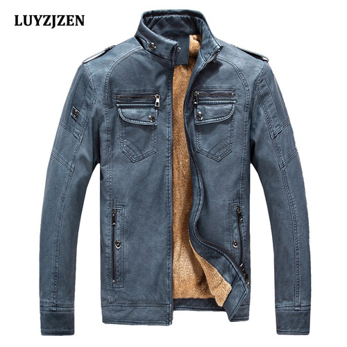 2017 Leather Jacket Men Autumn Winter Casual Mens Jackets Solid Outdoors Clothing Fashion Gentlemen PU Motorcycle Outerwear 310
