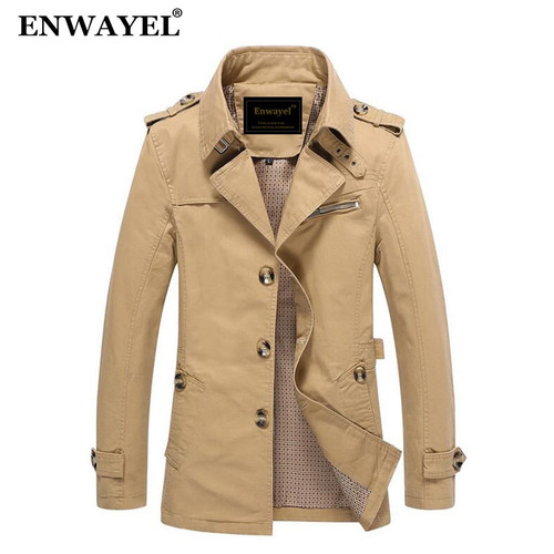 ENWAYEL Spring Autumn Jacket Men Slim Fit Trench Coat Mens Cotton Button Male Casual Outerwear Windbreaker Overcoat Jackets Coat