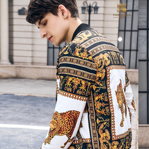 Free Shipping fanzhuan New 2018 winter new men's MALE personality warm printed baseball collar cotton jacket Baroque coat 820090