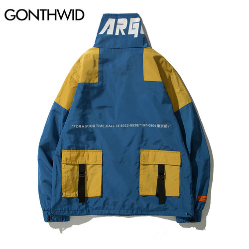 GONTHWID Back Pockets Half Zipper Pullover Windbreaker Track Jackets Men 2018 Autumn Hip Hop Harajuku Coats Streetwear Male
