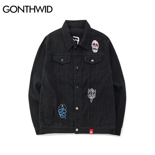 GONTHWID Embroidery Rose Skull Denim Jackets Men 2018 Autumn Fashion Casual Cotton Jean Jacket Coats Male Hip Hop Streetwear