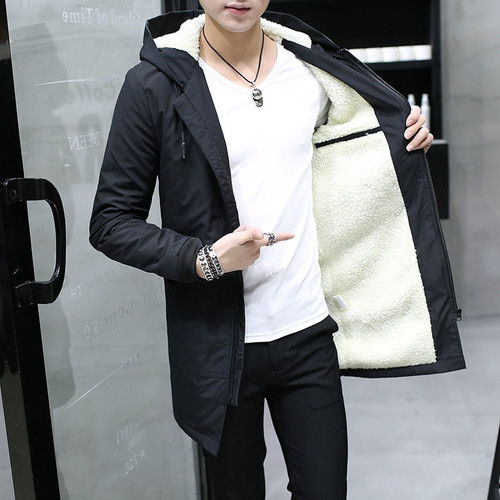 2018 Winter Jacket men hooded Slim Korean Parka Hombre long Jacket coat cashmere mens windbreaker Parkas cotton youth clothing