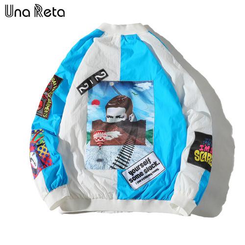 Una Reta Jackets Mens 2018 New Hip Hop Brand Thin Tracksuit Coat Fashion Casual Streetwear Man Pattern stitching Baseball jacket