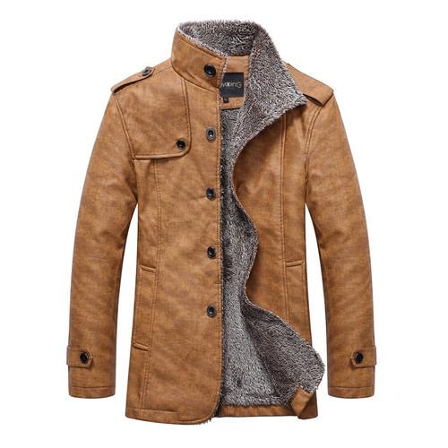 2018 Winter Warm Faux Leather Jacket Men Solid Long Sleeve PU Leather Coat Stand Collar Thick Slim Fit Men Jacket Trench Coats