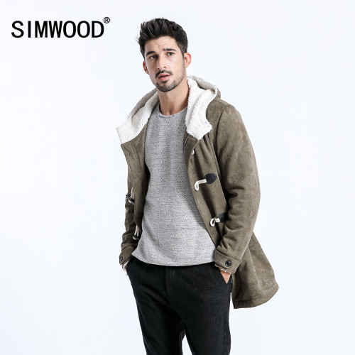 SIMWOOD 2018 Men Winter Coats Casual Long Faux Suede Men Jackets Winter Outerwear Warm Thick Brand Clothing manteau homme 180527