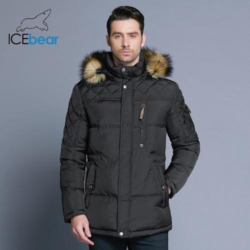 ICEbear 2018 Fashion Winter New Jacket Men Warm Coat Fashion Casual Parka Medium-Long Thickening Coat Men For Winter 15MD927D