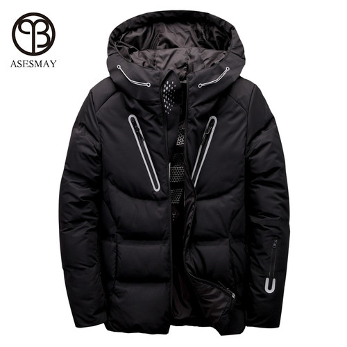 Asesmay luxury men winter jacket white duck down parka casual goose feather men's winter coat hood thick warm waterproof jackets