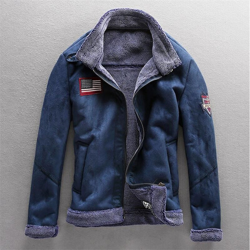 M-4XL Leather Jacket For Man Warm Lamb Wool Lining Fashion Casual Thick Winter Male Jacket Zipper Coat Plus Size A5125