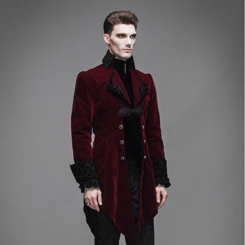 New Steampunk Goth Men Long Fashion Runway Style Coat Men's Neutral Slim Chinese Style Gothic Velveteen Trench Coat