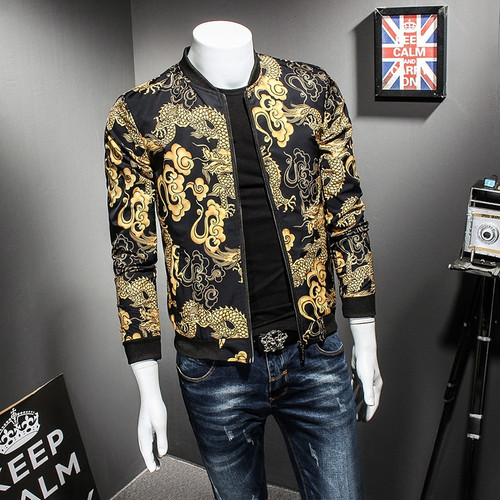 Dragon Gold Print Spring Autumn Jacket Hip Hop Fashion Prom Party Club Outfit Men Vintage Jacket Men Bomber Oversize 5xl
