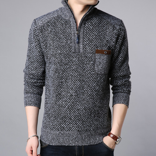 2018 Thick Velvet New Fashion Jackets For Men Half Zip Pullover Trend Overcoat Winter Windbreakers Casual Coat Men Clothing