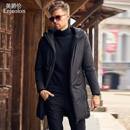 Enjeolon brand thicken winter hoodies long down jacket men light hoodies parka jacket men black down jacket parka coat MF0119