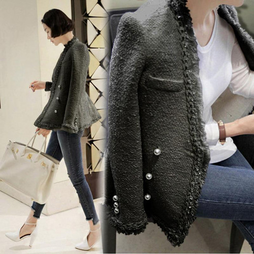 Zarachiel 2018 Brand Lady Winter Pearls Tassels Woolen Jacket Coat Women Vintage Casaco Femme Warm Tweed Jacket Elegant Overcoat