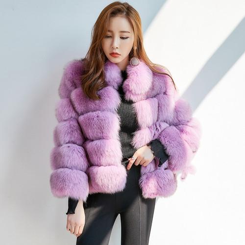 18dfb17a63260 ZADORIN 2018 New Winter Coat Women Faux Fox Fur Coat Plus Size Women Stand  Collar Long