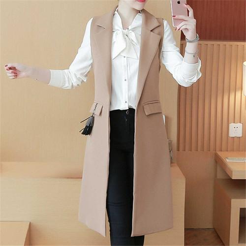 2018 Spring Autum New Fashion Long Pockets Turn-down Collar Single Button Sleeveless Blazer West Jackets Office Lady WaistCoat