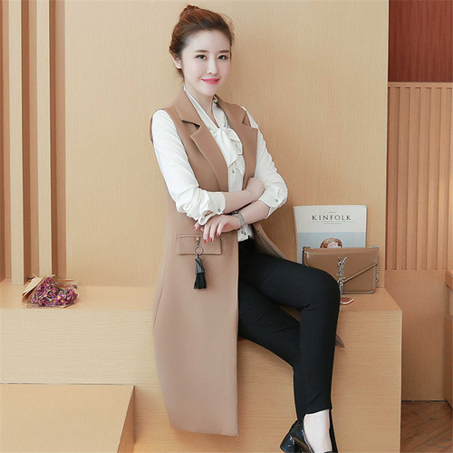 2018 Spring Autum New Fashion Long Pockets Turn-down Collar Single Button Sleeveless Blazer West Jackets Office Lady WaistCoat