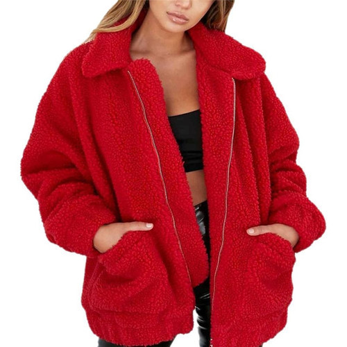 Elegant Faux Fur Coat Women 2018 Autumn Winter Thick Warm Soft Fleece Jacket Pocket Zipper Outerwear Overcoat Bear Teddy coat