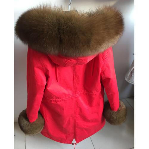MaoMaoKong Real natural fox collar coat natural Raccoon fur lining winter jacket Long hooded parkas