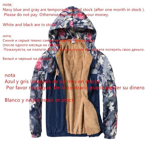 Windbreaker Jackets Women 2018 Winter Print Flowers Fleece Hooded Jacket Sportswear Casual Female Basic Jacket Coats Outwear