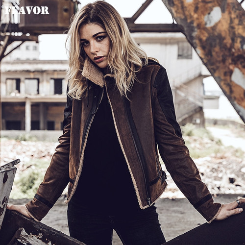 2017 NEW Women Bomber Flight Real Leather Jacket with Faux Fur Shearling Genuine Leather Motorcycle Jacket