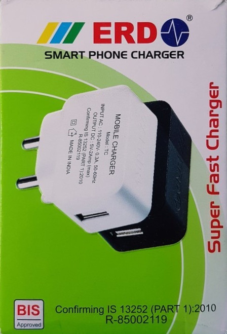 ERD FAST USB SMART PHONE CHARGER 1Amp for fast charging of Mobiles ,Tablets