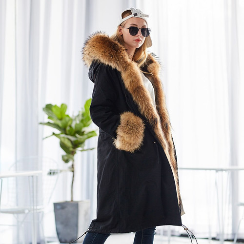 MAOMAOKONG plus size winter natural raccoon parkas black raccoon fur lining X long jacket coat